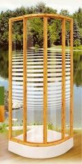 Mampara  para plato de ducha en cristal imitacion madera