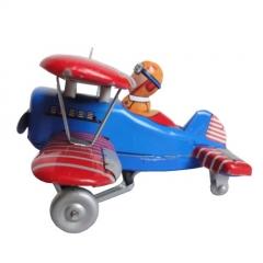Colecciolandia.com avion de hojalata con mecanismo de cuerda.