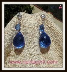 Pendientes de plata y cuarzo azul