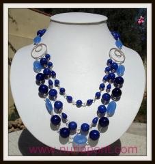 Collar de plata, calcedonia y jade azul