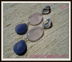 Pendientes de plata, cuarzo rosa y jade violeta