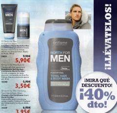 Limpiadora facial, desodorante roll-on, champu y gel para hombre