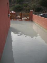 Prueba impermeabilización terraza en Punta Ballena, Algeciras.