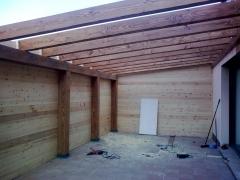 Estructura de madera para ampliar comedor.