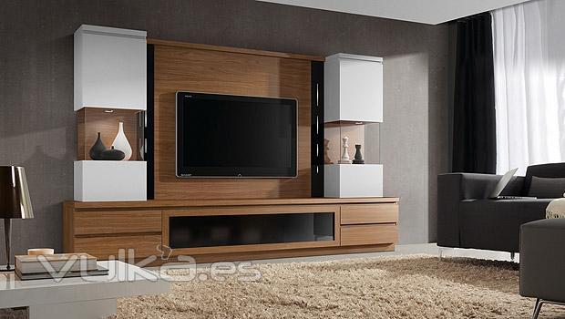 Foto mobiliario de comedor en color nogal y blanco con - Muebles color nogal ...