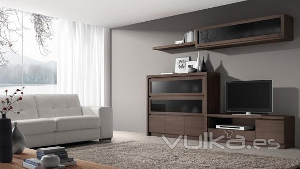 Vulka Muebles : Foto muebles de salon con vitrinas en color ceniza