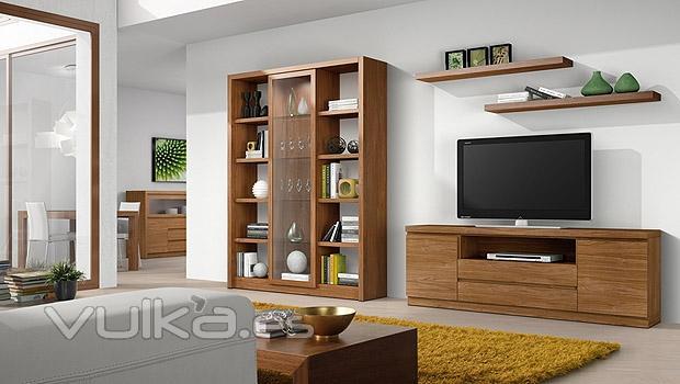 Foto muebles de hogar en color nogal de salon comedor moderno for Muebles de pladur para salon fotos