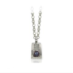 Colgante en plata con perla cultivada de r�o tahit�,cadena 45 cm