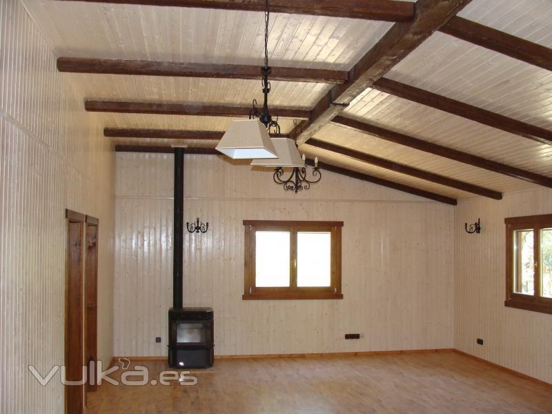 Foto interior casa entramado ligero - Interior casas de madera ...