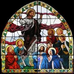 Vidriera en la iglesia de la ascensi�n de san asensio. la rioja.