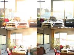 Comparativa con y sin lámina de control y protección solar