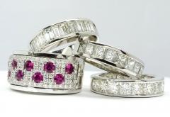 alianzas de diamantes, anillos con rub�