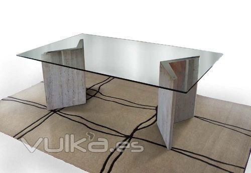 Foto mesa de comedor hualapai 220x120x73 m rmol - Mesa de marmol travertino ...