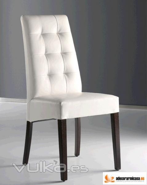Foto silla paris en piel blanca for Sillas de piel blancas