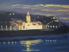 Nocturno de la iglesia de san pedro, cuadro pintado por carlos roces, en gijón