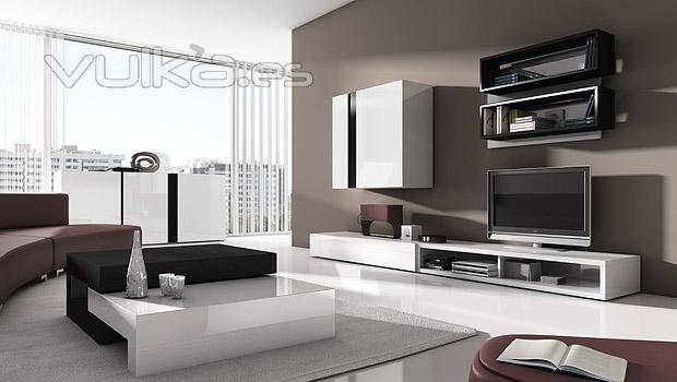 Foto salon comedor moderno con muebles lacados en blanco for Salon comedor moderno