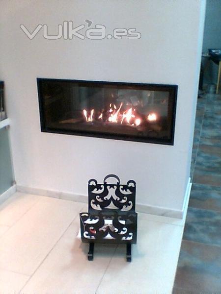 Foto chimenea en pladur con hogar de gas doble cara expo - Chimeneas de doble cara ...