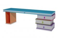 Mesa de estudio compuesta de muebles libro, con modulo libro para cpu