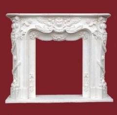 Marco de chimenea de marmol blanco estilo clasico