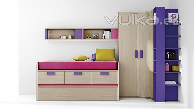 Foto composicion de muebles juveniles con armario rincon - Muebles compactos juveniles ...