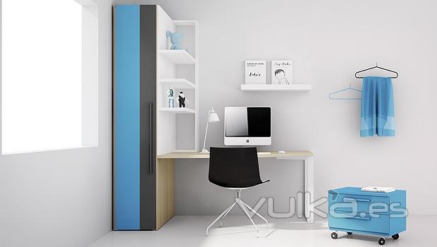Foto dormitorio juvenil con cama extra ble para for Dormitorios con poco espacio