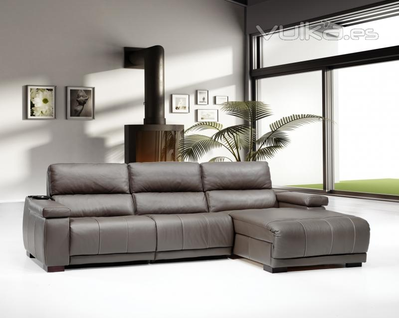 Foto sofa en pile tela cheslongue con motor relax for Sofas relax con motor