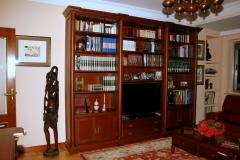 Libreria para tv con columnas, en cerezo