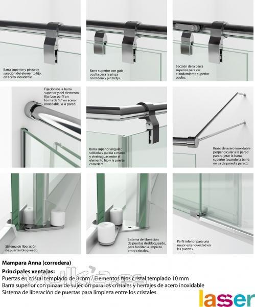 ... ducha con puertas correderas Puertas en cristal templado de 8 mm