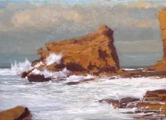 Playa de langre, cantabria, oleo