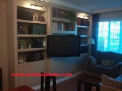 Librer�a de pladur con moldura superior de escayola y tv empotrable