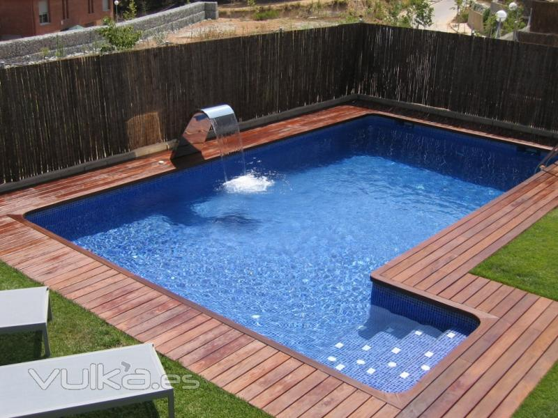 Foto piscina rectangular con ca on de agua for Imagenes de piscinas con jacuzzi