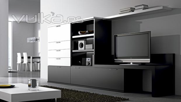 Foto muebles blancos y negros de salon comedor lun - Muebles de salon negros ...