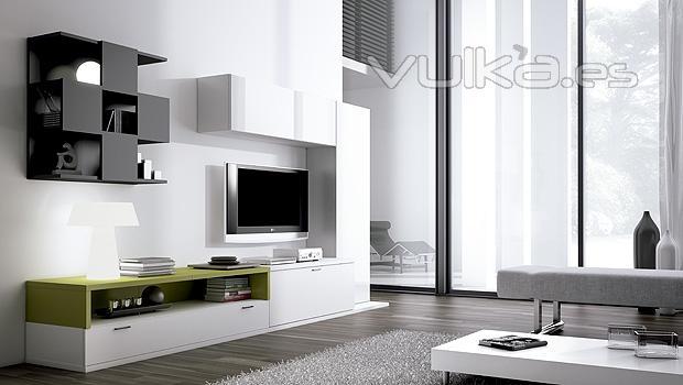 Foto: Muebles de salon con estante singular en color negro