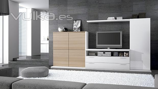 Foto combinacion de muebles en color blanco y color nogal - Muebles color nogal ...