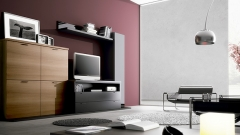 Muebles de salon comedor en color nogal y negro