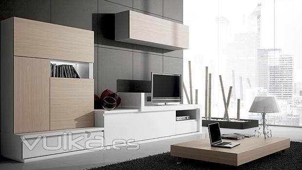 Foto muebles de salon comedor en color blanco y color nogal for Muebles salon color blanco