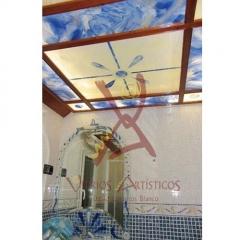 Conjunto de espejo y luminaria en vidrio fusing o termofundido con vidrio esmaltado.