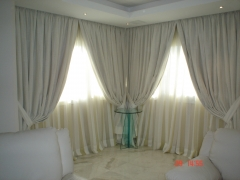 Salon con cortinas en Loneta con forro