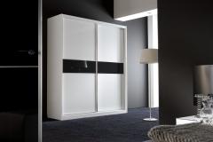 Armario con 2 puertas en melamina blanca con cristal lacado negro