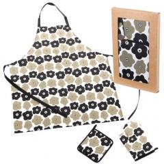 Set delantal, manopla y agarrador flores en lallimona.com
