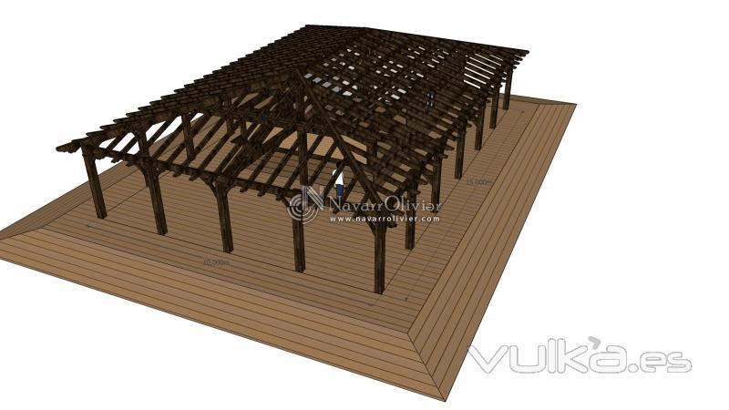 Foto estructura de madera con vigas laminada para chiringuito - Tejado a cuatro aguas ...