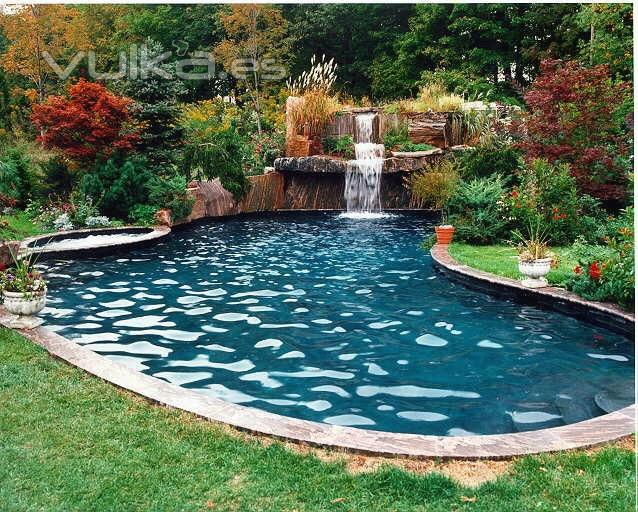 Foto piscina estanque con cascadas for Piscina estanque