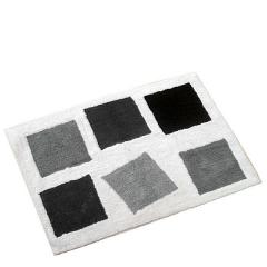Alfombra de baño cuadros negros grises en lallimona.com