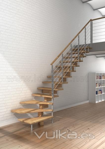Foto escalera de madera modular modelo doxa wood for Escaleras de interior fotos