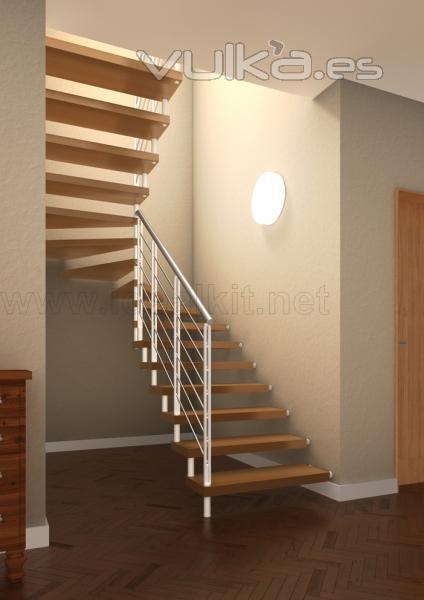 Foto escalera recta de madera modelo glam for Modelos de escaleras de madera