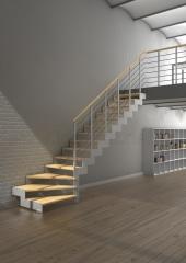 Escalera recta de madera y metal Modelo ITRON