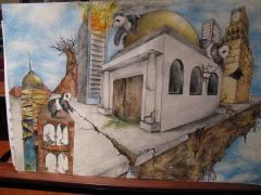 Dibujo enviado desde eeuu,  clase a distancia, de una alumna.