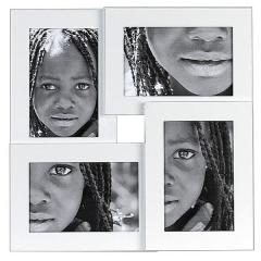 Portafotos quattuor aluminio blanco 10x15 4 fotos en lallimona.com