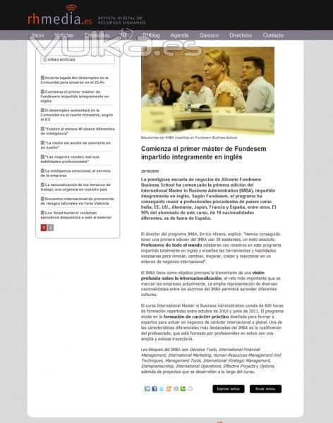 Dise�o, programaci�n y posicionamiento de Revista digital de recursos humanos: www.rhmedia.es