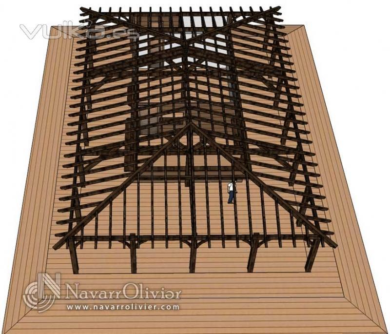Foto estructura de madera para caba a y chiringuito for Imagenes de tejados de madera